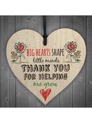 Teacher Leaving Gift Nursery Wooden Heart Plaque Thank You Gift