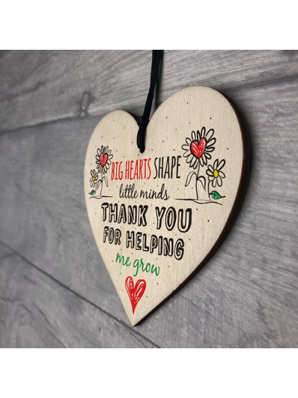 Teacher Leaving Gift Nursery Wooden Heart Plaque Thank You Gift