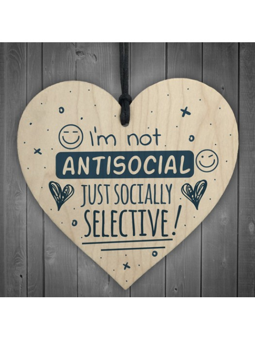 Not Antisocial Wooden Heart Friendship Plaques Sign Funny Family