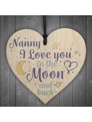 Love You Grandparents Mum Nan Nanny Wooden Heart Birthday Gifts