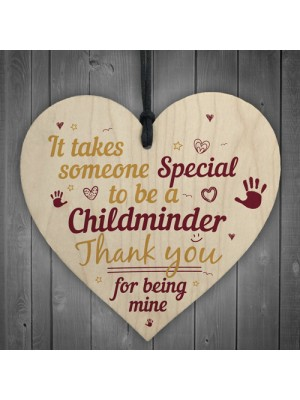 Special Childminder Wooden Heart Babysitter Plaque ThankYou Sign