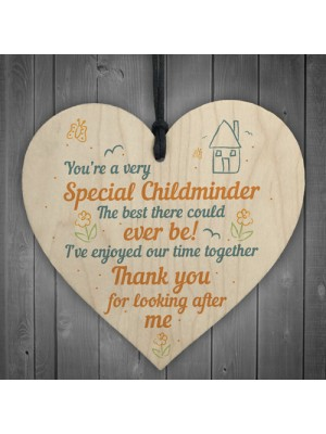 Special Childminder Shabby Chic Heart Babysitter Plaque Thankyou