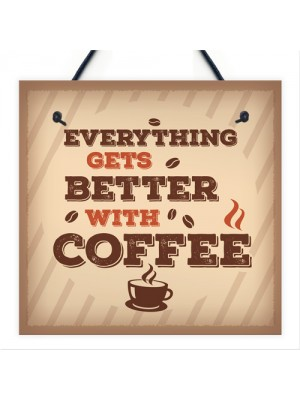 Better With Coffee Retro Vintage Kitchen Wall Decor Pub Sign