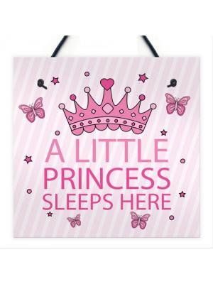 Princess Sleeps Plaque Door Nursery Bedroom Sign Gift Baby Girls