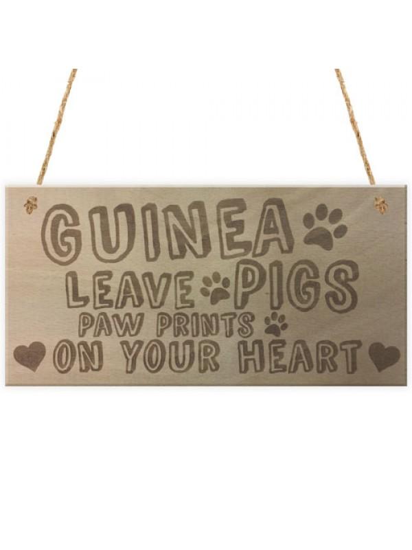 Guinea Pigs Paw Prints Wooden Plaques Hutch Cage Run Garden Pet