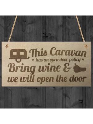 Open Door Policy Caravan Wood Plaque Shabby Sign Best Friend