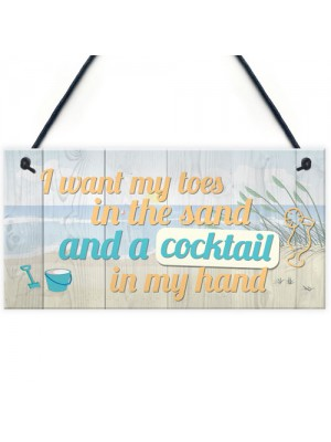 Cocktail In My Hand Plaque Nautical Decor Sign Beach Seaside