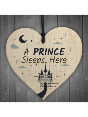 Prince Sleeps Here Plaque Boys Bedroom Accessory Blue Kids Wall