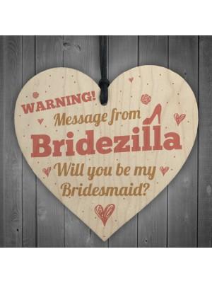 Bridezilla Bridesmaid Maid of Honour Wooden Heart Wedding Invite