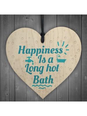 Long Hot Bath Bathroom Toilet Sign Wooden Heart Sign Home Gift