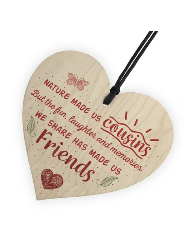 Fun & Laughter Cousin Wooden Heart Family Plaque Thank You Gifts