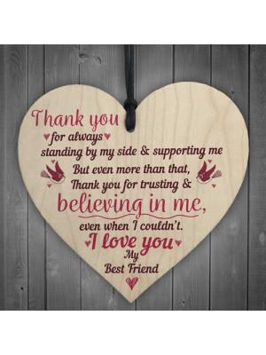 I Love You Friendship Sign Best Friend Wooden Heart Birthday