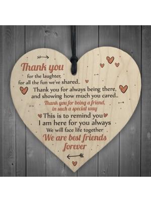 Best Friends Forever Friendship Sign Wooden Heart Plaque Thank