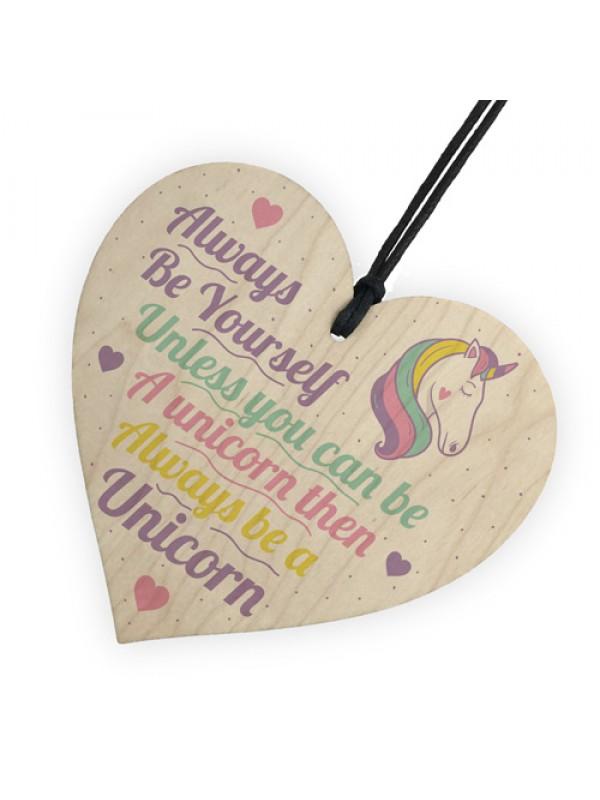 Be Yourself Unicorn Wall Bedroom Wood Heart Girl Room Sign Gift