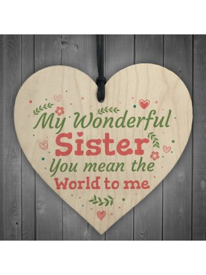 Wonderful Sister Friend Friendship Wooden Heart Plaque Sign Gift