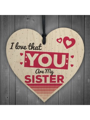 Sister Friend Friendship Gift Wooden Hanging Heart Plaque Sign