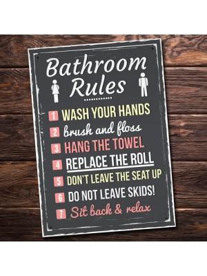 Bathroom Rules Funny Toilet Door Wall Sign Novelty Joke Plaque