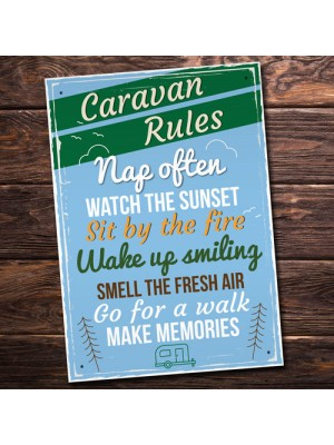 Caravan Rules Hanging Plaque Holiday Novelty Birthday Friendship