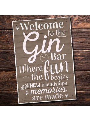 Gin Bar Hanging Plaque Alcohol Party Novelty Birthday Gift