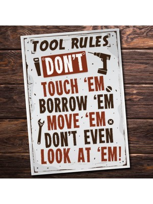 Tool Rules Hanging Sign Pub Garage Man Cave Workshop Dad Gifts