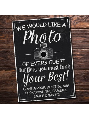 We Would Like A Photo Photobooth Sign Chalk Board Wedding Decor