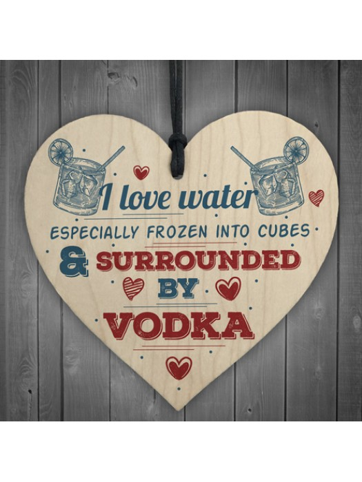 I Love Vodka Shabby Chic Hanging Wood Sign Friendship Home Gift