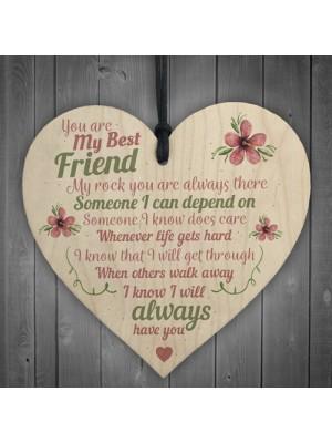 Best Friend Friends Plaque Wooden Heart Birthday Thank You Mum