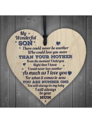My Wonderful Son Wooden Heart Mum Son Special Birthday Gift
