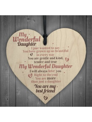 Wonderful Daughter Wooden Heart Sign Mum Daughter Plaque Special