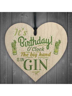 Gin OClock Birthday Gift Funny Wood Heart Plaque Friendship Gift