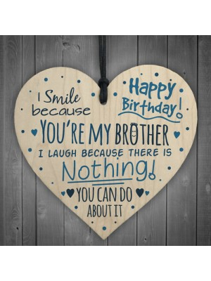Happy Birthday Wood Heart Brother Sister Mum Dad Funny Card Baby