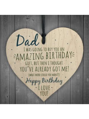 Amazing Happy Birthday Wooden Heart Dad Daddy Funny Card Baby