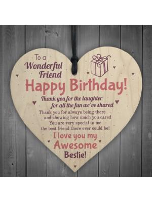 Friendship Best Friend Plaque Happy Birthday Heart Gift Mum