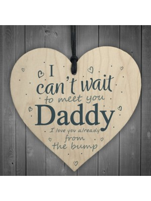 Daddy To Be Can't Wait Wooden Heart Dad Father Funny Card Love