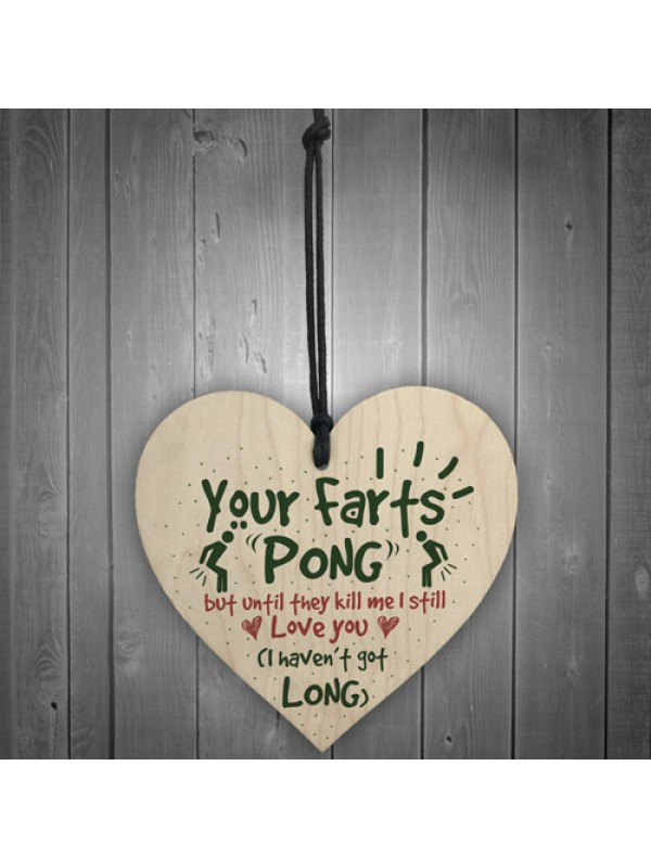 Your Farts Pong Happy Birthday Funny Card Wooden Hanging Sign