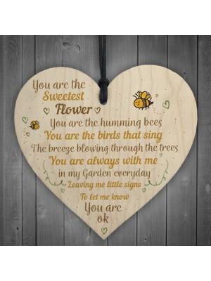 Mum Nan Dad Family Guardian Wood Heart Sign Memorial Gift Angel