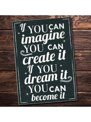 Imagine It Inspirational Quote Plaque Wall Art Sign Shabby Chic