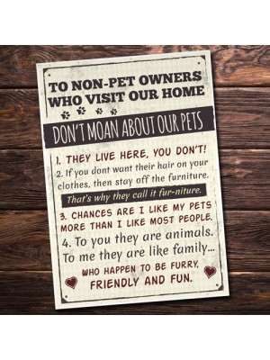 Rules to Non Pet Owners Retro Sign Wall Plaque Dog Cat Lover