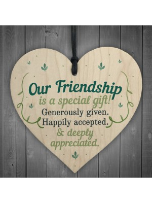 Our Friendship Quote Wood Heart Sign Best Friend Plaque Birthday