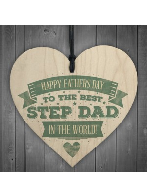 Fathers Day Best Step Dad Father Hanging Wood Heart Gift For Him