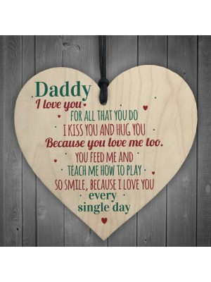 Daddy I Love You Wood Heart Father's Day Gifts For Him Dad