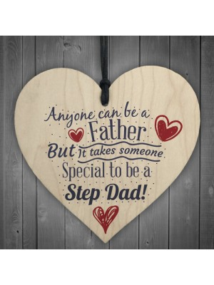 Special Stepdad Fathers Day Birthday Gift Present Wooden Heart