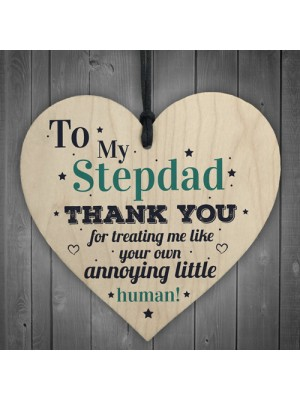 Stepdad Dad Thank You Wood Heart FATHERS DAY Gift For Him