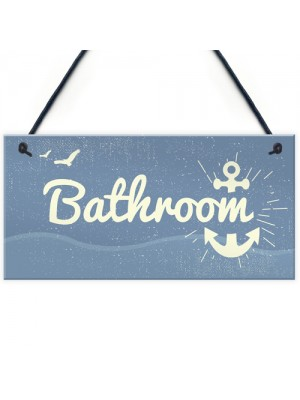 Bathroom Plaque Seaside Nautical Accessories Shabby Chic Vintage