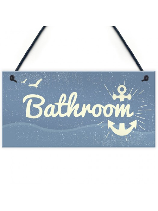 Bathroom Plaque Seaside Nautical Accessories Shabby Chic Vintage