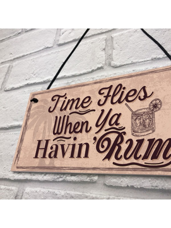 Havin Rum Hanging Sign Funny Alcohol Bar Pub Man Cave Garden
