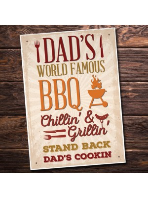 Dad's BBQ Barbeque Shed SummerHouse Hanging Sign Garden