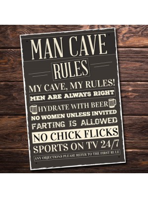 Man Cave Rules Sign Funny Father's Day Gift Man Cave Shed Signs
