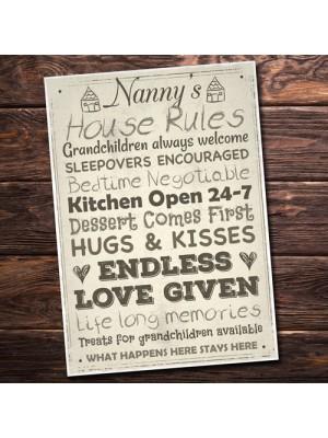 Nanny's House Rules Mum Nan Grandma Grandad Mother's Day