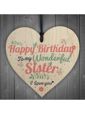 Happy Birthday Sister Friendship Wood Heart Keepsake Chic Gift